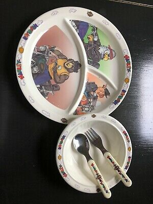 Harley Davidson Kids Dinnerware Plate & Bowl Set With Spoon And Fork. Rare