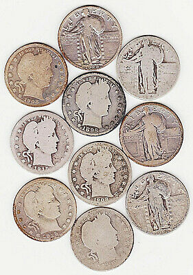 TEN Old Silver Coins; 2-1899, 2-1908, 2-1915, 1917, 1925, 1926, 1928,  FREE S&H
