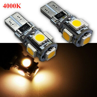2X T10 Wedge 5SMD Parker Number Plate LED Bulbs W5W 194 168 131 4000K CANBUS 12V