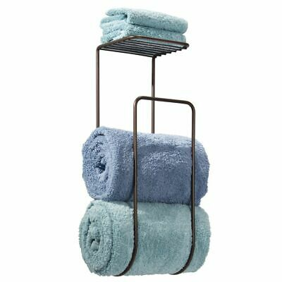 mDesign Metal Wall Mount Towel Rack Organizer with Shelf - Bronze
