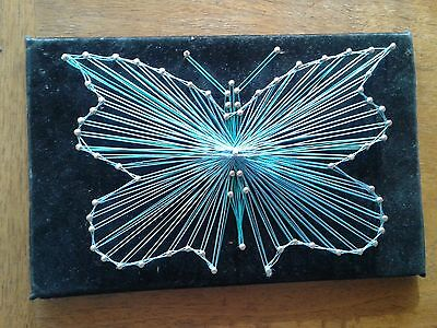 Genuine Mid Century Vintage Complete Blue Butterfly String Art