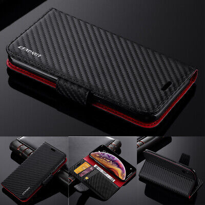 Carbon Fiber Magnetic Flip Leather Wallet Case For Samsung A70 A50 A40 S10 S8 S9
