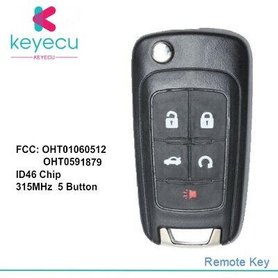 BESTHA 2 New Key Fob Replacement Ignition Flip Key Keyless Entry Remote Start OHT01060512 for Buick Chevrolet GMC Terrain
