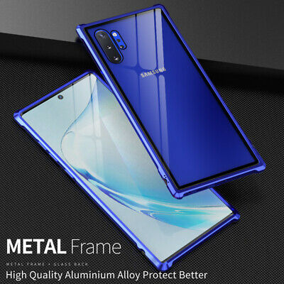 Metal Bumper+Tempered Glass Back Slim Case Cover For Samsung Galaxy Note 10 Plus