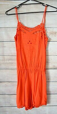 Anouck By Magali  Pascal Playsuit Size Small Red Orange Broderie Anglaise