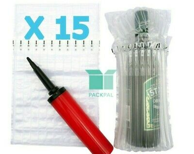 Air column inflatable packaging bag X 15 for wine bottle + FREE hand pump