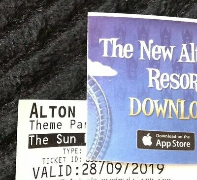 2 x Alton Towers Tickets , Valid Only Saturday 28th Sept 2019