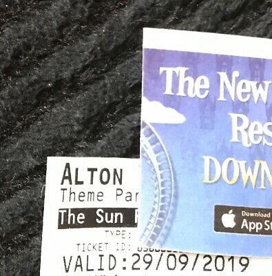 2 x Alton Towers Tickets , Valid Only Sunday 29th Sept 2019, A