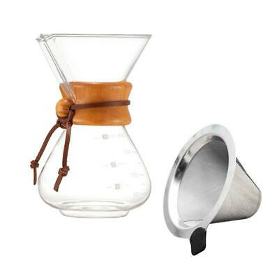 CHEMEX CLASSIC 8 CUP CM-8GH COFFEE MAKER GLASS HANDLE POUR-OVER PURE FLAVOR