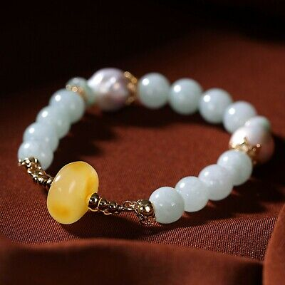 Natural Jade Bracelet with Beeswax Amber Emerald Charm Bead Chain for Woman Girl