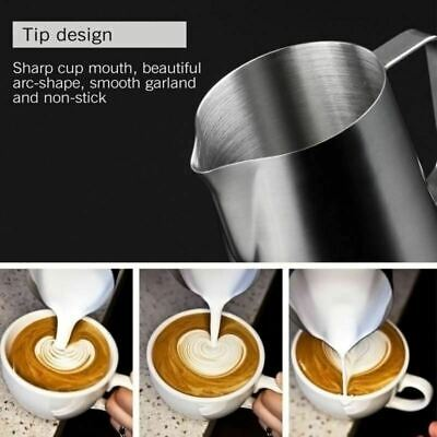 Stainless Steel Milk / Coffee Frothing Jug Frother Latte Container Metal Pitcher