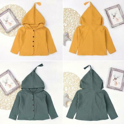 Baby Boy Girl Children Long-Sleeves Clothes Autumn Cardigan Hooded Coat 6M-5Y