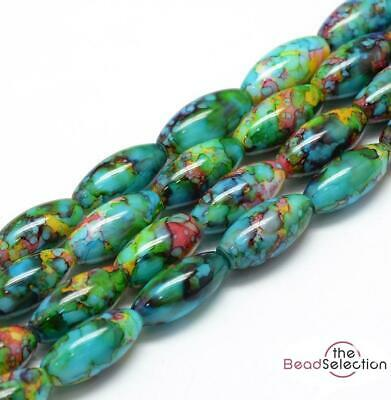 20 'WILD ORCHID' DRAWBENCH OVAL GLASS BEADS 22mm HARLEQUIN TOP QUALITY GLS9