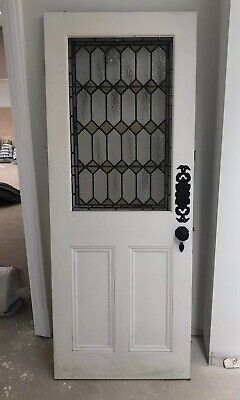 Reclaimed internal/interior door leaded stained glass