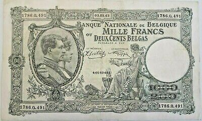 1000 Francs Frank 1943 Belgique Belgïe 200 belgas  WWII  III Reich Occupation