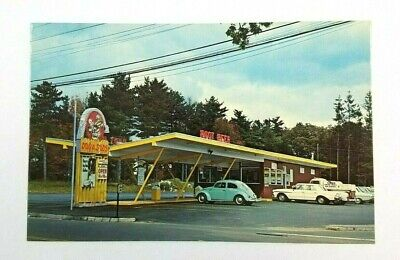 1960's Dog N Suds Root Beer Postcard South Easton MA Trade Ad Card Root Beer VW