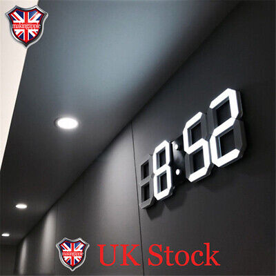 Digital 3D LED Wall/Desk Clocks Auto Brightness Snooze 12/24 Hour Display Alarms