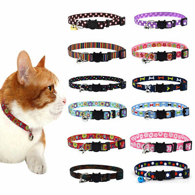 EB_ Small Pet Dog Cat Bell Nylon Collar Puppy Kitten Safety Buckle Neck Chain Gr