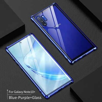 For Samsung Galaxy Note10 Plus Tempered Glass Clear Case Metal Aluminum Cover
