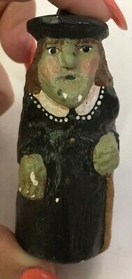 Old Looking Witch - appears carved - green sking and black dress and hat