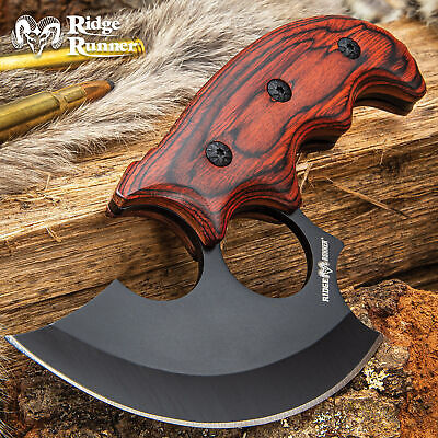 "6.5"" Ridge Runner Ulu Fixed Blade Knife Hunting Skinning Kitchen Full Tang Bowie"