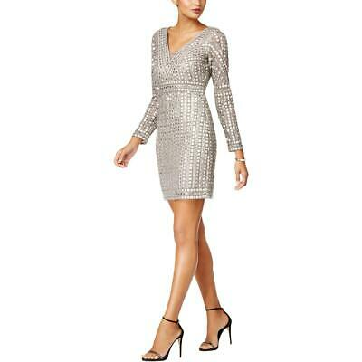 Adrianna Papell Womens Gray Embellished Party Mini Cocktail Dress 16 BHFO 6423