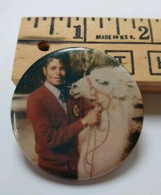 "Michael Jackson and Louie the Llama 1980s 2"" Vintage Pin-Back Button VERY RARE"