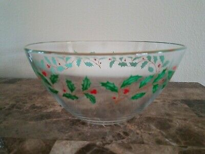 """Lenox Holiday 9"""" Salad Serving Bowl Clear Glass Holly Berry Motif 24K Gold Rim"""