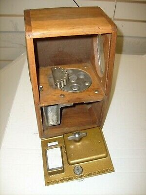 Victor Vending Corp. Gumball Candy Machine Oak Wood Sides Vintage Parts Cabinet