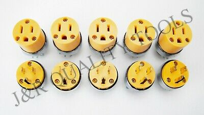 24-pc Male & Female Extension Cord Replacement Electrical Plugs 15AMP 125V