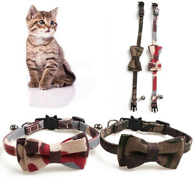EB_ ALS_ Camouflage Pet Dog Cat Collar Neck Strap Necklace Bow Tie Bell Pet Supp