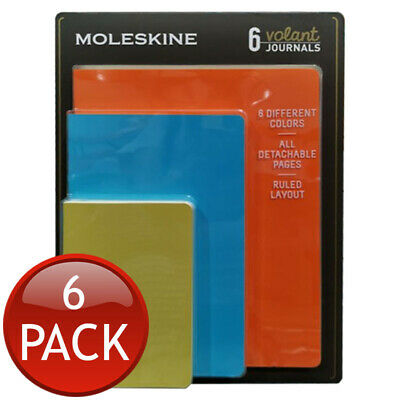 Moleskine Volant Ruled Layout Journal Assorted Colours Detachable Pages Set Of 6