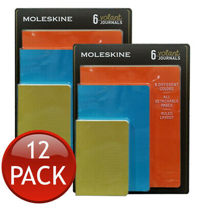 2 x MOLESKINE VOLANT RULED LAYOUT JOURNAL ASSORTED COLOUR DETACHABLE PAGES 6 SET