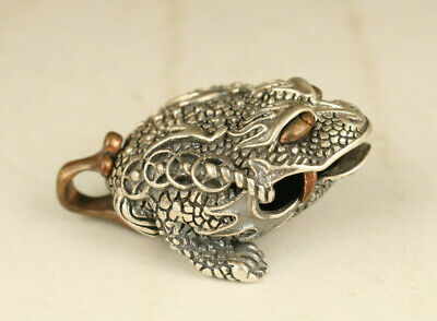 cool chinese 925 silver hand carved jinchan statue pendant netsuke gift