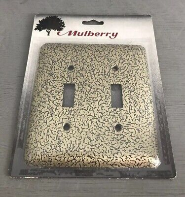 NEW Mulberry Gold & Black Wall Switch Plate Cover Double Toggle Light Outlet