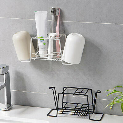 EB_ Metal Bathroom Toothbrush Toothpaste Cup Mug Holder Stand Rack Organizer Cut