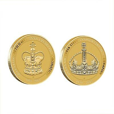 Australia 2013 QUEEN ELIZABETH II Coronation Set of 2 $1 Dollar UNC Coins Carded