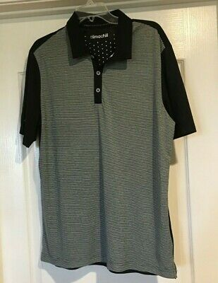 Adidas Golf Men's Climachill black with Stripes Polo Shirt size XL excellent