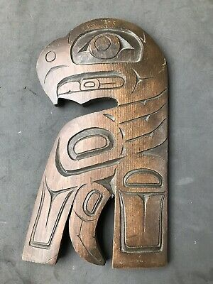 Old North West Native American Carved Totemic Eagle By Len Paquette