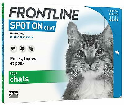 Anti-Puces Anti Tiques Efficace Chat Frontline Spot On Vermifuge 4 Pipettes