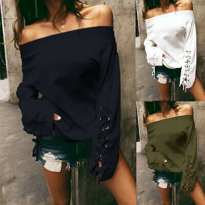 Womens Long Sleeve Tops Off the Shoulder Blouse Ladies Jumper Shirt T-Shirts