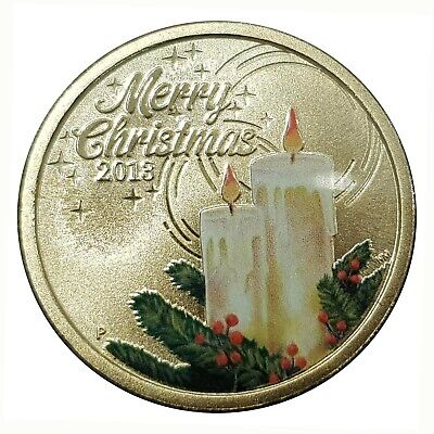 Australia 2013 Merry Christmas Festive Candles $1 Coloured UNC Coin Carded