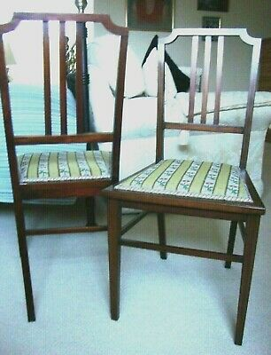 Antique Pair Two Edwardian Mahogany Inlaid Occasional Bedroom Chairs Embroidered