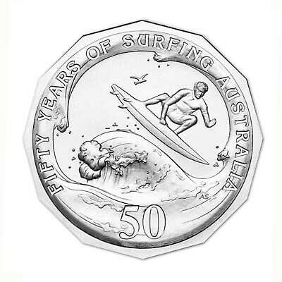 Australia 2013 Surfing 50c Fifty Cents UNC Coin Carded