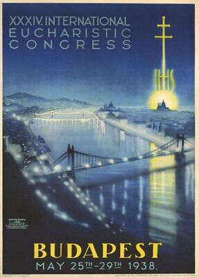Hungary for Budapest Eucharistic Congress, 1938, Vintage Travel Poster