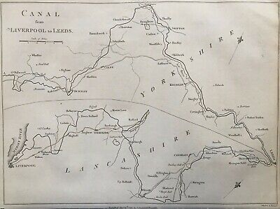 1794 Antique Map; The Leeds and Liverpool Canal after Mutlow