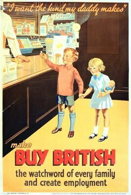 Vintage 1930's British Empire Buy British Brexit Interest Poster 17 Print A3/A4