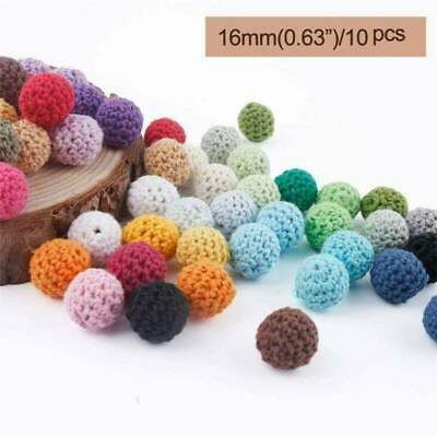 10pc Wooden Crochet Covered Beads Colour Mix Ball 16mm For Baby Teething DIY
