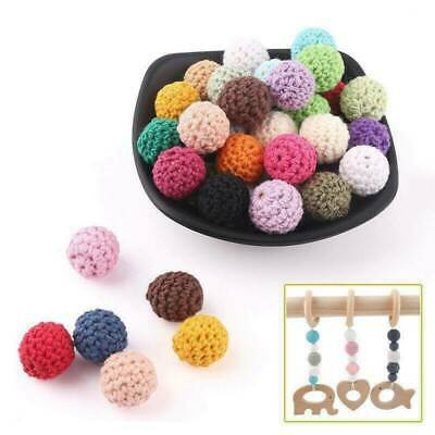10PC 16mm Crochet Wooden Beads Ball for Baby Teether Chain DIY Necklace Craft