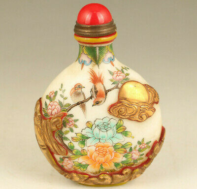 Asian Old Glaze Coloure Hand Painting magpie Statue Big Snuff Bottle noble gift